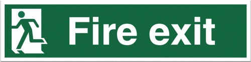 Stewart Superior Fire Exit Sign Man to Left 600x150mm Self-adhesive Vinyl Ref NS003