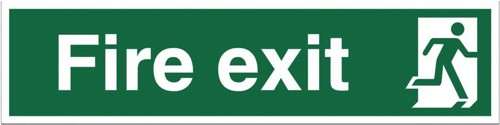 Stewart Superior Fire Exit Sign Man to Right 600x150mm Self-adhesive Vinyl Ref NS004