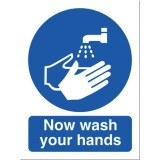 Stewart Superior PVC Signs Now Wash Your Hands Please 200x150mm Code NS022