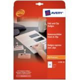 Avery Fold & Clip Name Badges 3 per Sheet 60x90mm White Ref L4789-10 [30 Badges]