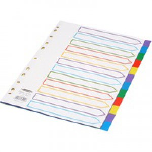 Concord Plastic Subject Dividers Polypropylene 120 Micron Europunched 12-Part A4 Assorted Ref 65999