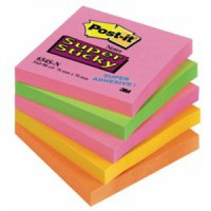 3M Post-it Super Sticky Notes 76x76mm Neon Rainbow Code 654-SN