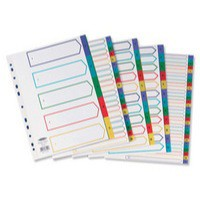 Concord Plastic Index Polypropylene 120 Micron Europunched 1-20 A4 Assorted Ref 66599