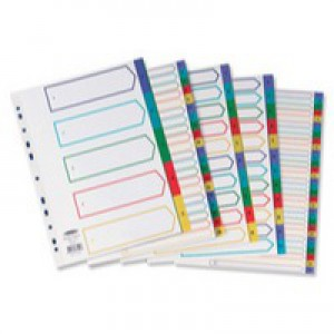 Concord Punched Pocket Dividers Plastic Multicolour-tabbed 5-Part Extra Wide A4 White Ref 66099
