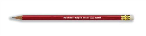 Pencil with Eraser HB Red Barrel [Pack 12]