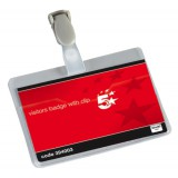 5 Star Name Badges Visitors Landscape with Plastic Clip 60x90mm [Pack 25]