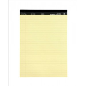 5 Star Executive Pad Perforated Top Feint Ruled Blue Margin Red 50 Yellow Sheets A4 [Pack 10]