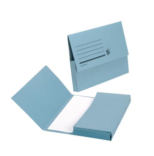 5 Star Document Wallet Half Flap 285gsm Capacity 32mm Foolscap Blue [Pack 50]