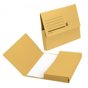 5 Star Document Wallet Half Flap 285gsm Capacity 32mm Foolscap Yellow [Pack 50]