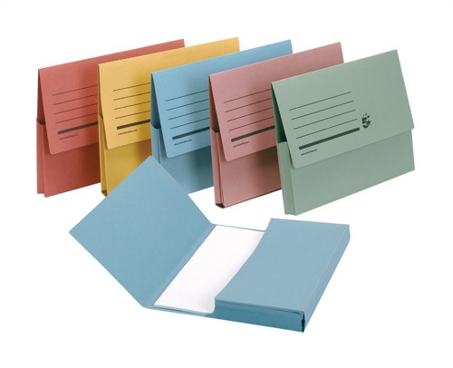 5 Star Document Wallet Half Flap 285gsm Capacity 32mm Foolscap Assorted [Pack 50]