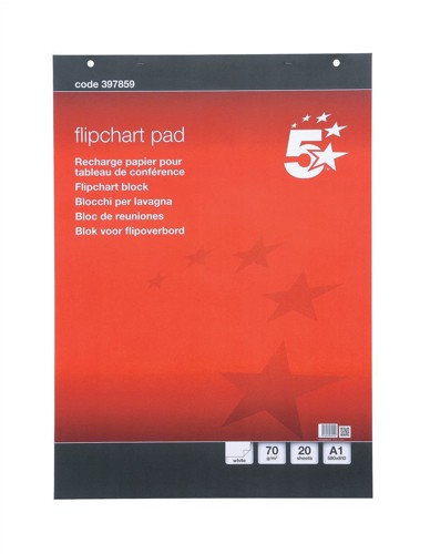 5 Star Meeting Flipchart Pad Perforated 20 Sheets A1 Plain [Pack 5]
