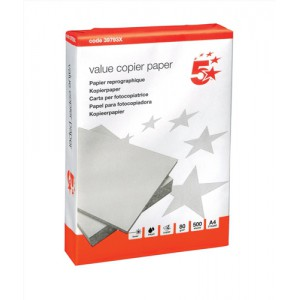 5 Star Office Value Copier Paper Multifunctional 80gsm 500 Sheets per Ream A4 White 1 Ream