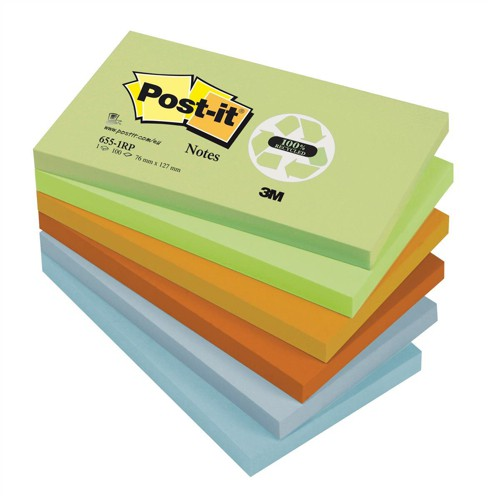 3M Post-it Note Pastel Recycled Pads Pack of 12 76x127mm 655-1RP