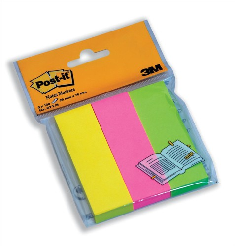 3M Post-it Page Markers 25x76mm Pack of 3x100 671/3