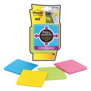 Post-it Super Sticky Full Adhesive Notes Pad 76x76mm Yellow Ref F330-4SSY [Pack 4]
