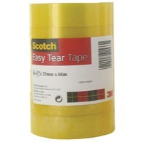 3M Scotch Easy Tear Clear Tape 25mm x 66Metres 015016