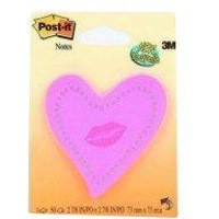 Image for Post-it Heart with Lips Neon Pink Notes