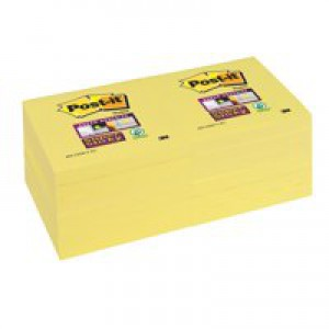 3M Post-it Super Sticky Note Canary Yellow 76x76mm 654-12SSCY