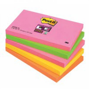 3M Post-it Super Sticky Note 76x127mm Neon Rainbow Pack of 5 655-SN