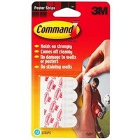 3M Command Adhesive Poster Strips Pack of 12 White 17024