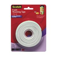 Scotch White Permanent Foam Mounting Tape 12.7mm x 3.8m Roll (Pack of 1) 4013