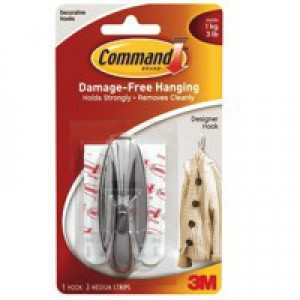 3M Command Adhesive Medium Oval Hook Pack of 2 White 17081