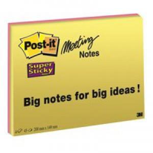 3M Post-it Super Sticky Meeting Note Neon Pk 4 200x149mm 6845-SSP
