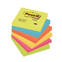 3M Post-it Note Warm Neon Rainbow Pack of 6 76x76mm 654TF