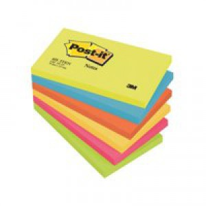 3M Post-it Note Warm Neon Rainbow Pack of 6 76x127mm 655TF