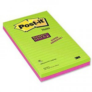 3M Post-it Super Sticky Note 124x200mm Ultra Colours Pack of 2 5845-SSEU