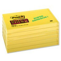 3M Post-it Super Sticky Note 76x127mm Yellow 655-S6