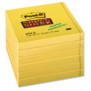 Post-it Yellow Super Sticky Notes 76x76mm Pack of 6 654-S6