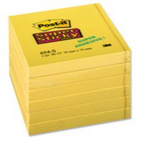 3M Post-it Super Sticky Note 76x76mm Yellow 654-S6