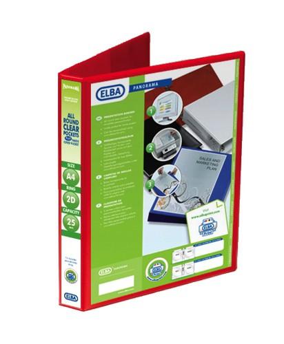 Elba Presentation Ring Binder PVC 2 D-Ring 25mm Capacity A4 Red Ref 400008676 [Pack 6]