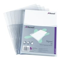 Rexel Nyrex Pocket Punched 4-Hole Half-size Top-opening Extra Capacity 250 Sheets A4 Ref 13680 [Pack 5]