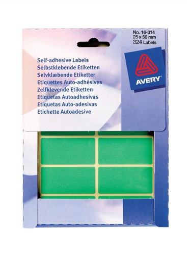 Avery Wallet of Labels 50x25mm Green Ref 16-314 [324 Labels]
