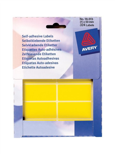 Avery Wallet of Labels 50x25mm Yellow Ref 16-315 [324 Labels]