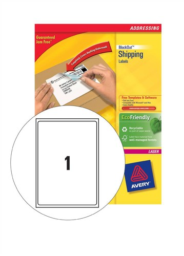 Avery Addressing Labels Laser Jam-free 1 per Sheet 199.6x289.1mm White Ref L7167-40 [40 Labels]