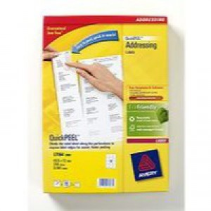 Avery Addressing Labels Laser Jam-free 12 per Sheet 63.5x72mm White Ref L7164-250 [3000 Labels]