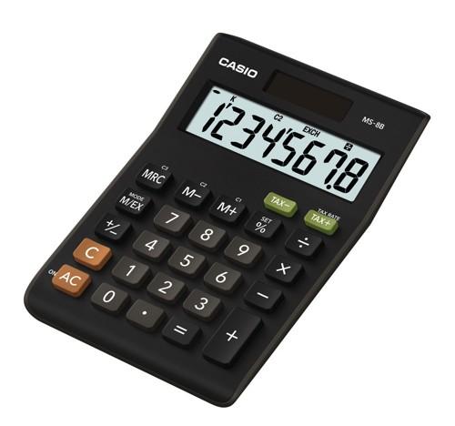 Casio Calculator Desktop Battery/Solar-power 8 Digit 3 Key Memory 103x137x31mm Black Ref MS-8TV/MS-8S