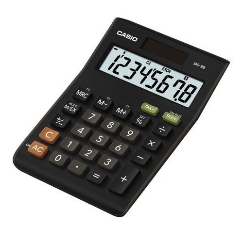 Casio MS-8TV Desktop Calculator Battery/Solar-power 8 Digit 4 Key Memory Black
