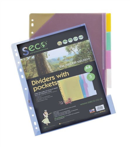 Sseco Dividers A4 Assorted Ref PocketDiv010 [Pack 5]