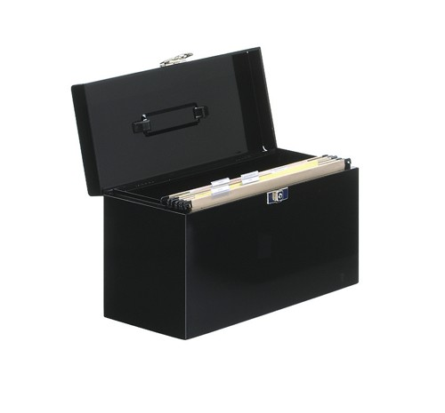 Metal File Box with 5 Suspension Files Tabs and Inserts A4 Black