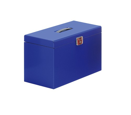 Metal File Box with 5 Files A4 Blue