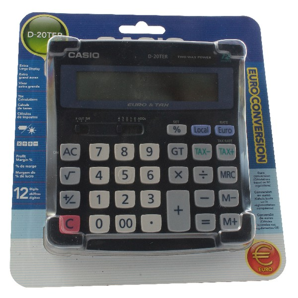Casio Calculator Euro Desktop Battery Solar-power 12 Digit 3 Key Memory 151x158x32mm Ref D20TER