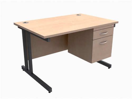 Trexus Contract Plus Cantilever Desk Rectangular 2-Drawer Pedestal Graphite Legs W1200xD800xH725mm Maple