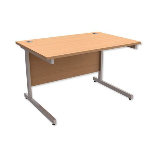 Trexus Contract Desk Rectangular Silver Legs W1200xD800xH725mm Beech