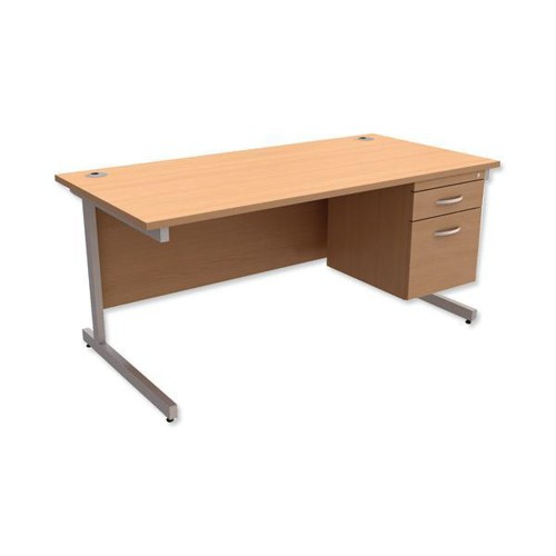 Trexus Contract Desk Rectangular with 2-Drawer Filer Pedestal Silver Legs W1600xD800xH725mm Beech