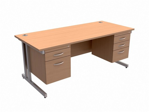 Trexus Contract Plus Cantilever Desk Rectangular Double Pedestal Silver Legs W1800xD800xH725mm Beech