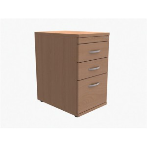 Trexus Filing Pedestal Desk-High 3-Drawer W400xD600xH725mm Beech